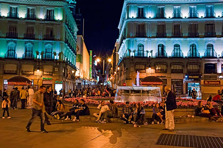 best spots for nightlife in Madrid include Plaza Sol