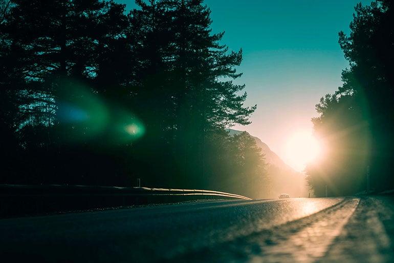 car green card sunset